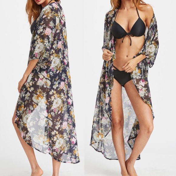 66a370ef7a3c1 🆕Floral sheer robe beach cover up kimono